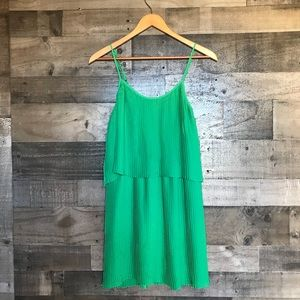 Parker Green Accordion Pleated Tiered Layer Dress
